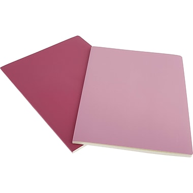 Moleskine Volant Notebook, Set of 2, Extra Large, Ruled, Pink Magenta, Magenta, Soft Cover, 7-1/2in. x 10in.