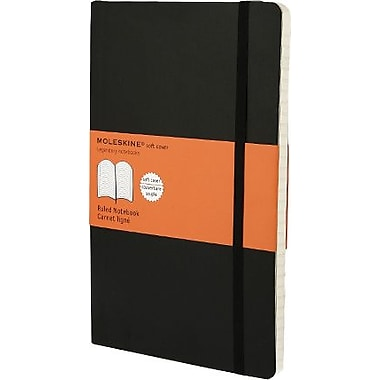 Moleskine Classic Notebook, Large, Ruled, Black, Soft Cover, 5