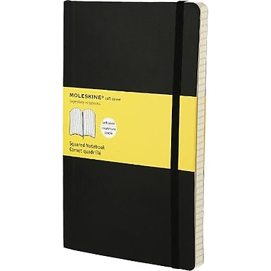 Moleskine Classic Notebook, Extra Large, Squared, Black, Soft Cover, 7-1/2in. x 10in.