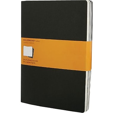 Moleskine Cahier Journal, Set of 3, Extra Large, Plain, Black, Soft Cover, 7-1/2in. x 10in.