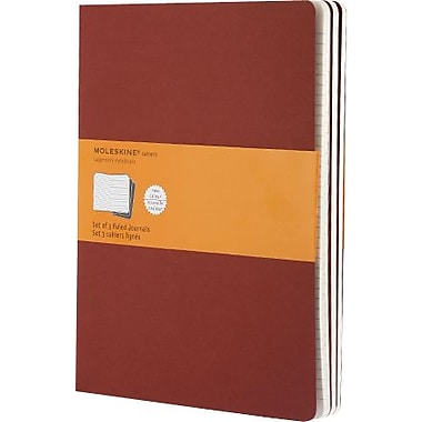 Moleskine Cahier Journal, Set of 3, Extra Large, Ruled, Cranberry Red, Soft Cover, 7-1/2