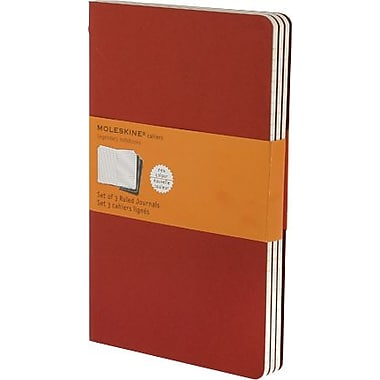 Moleskine Cahier Journal, Set of 3, Large, Ruled, Cranberry Red, Soft Cover, 5in. x 8-1/4in.