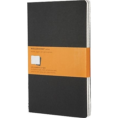 Moleskine Cahier Journal, Set of 3, Large, Ruled, Black, Soft Cover, 5in. x 8-1/4in.