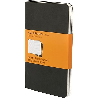 Moleskine Cahier Journal, Set of 3, Pocket, Ruled, Black, Soft Cover, 3-1/2in. x 5-1/2in.