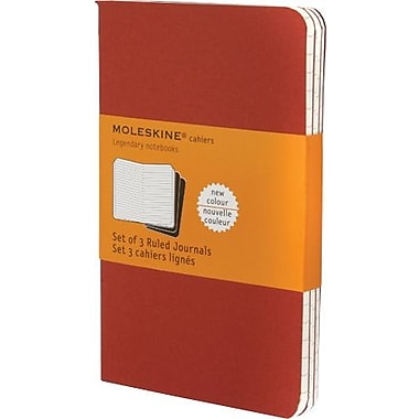 Moleskine Cahier Journal, Set of 3, Pocket, Ruled, Cranberry Red, Soft Cover, 3-1/2in. x 5-1/2in.