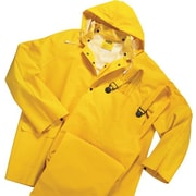 Anchor Brand® 3 Piece Rainsuit, Yellow, PVC/Polyester, 0.3500 mm (T), Detachable Hood, 6X-Large