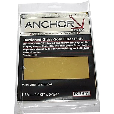 Anchor Brand® Filter Plate, 4 1/4 in (L) X 2 in (W), Gold, #11 Shade