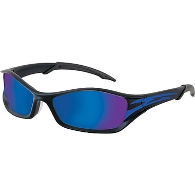 MCR Safety ANSI Z87.1 Tribal® Tattoo Safety Glasses, Blue Diamond Mirror/Blue Tattoo