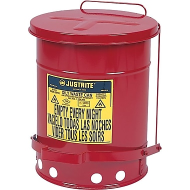 SoundGuard™ Flame Retardant Wear Resistant Non Combustible Red Oily Waste Can, 10 Gallon