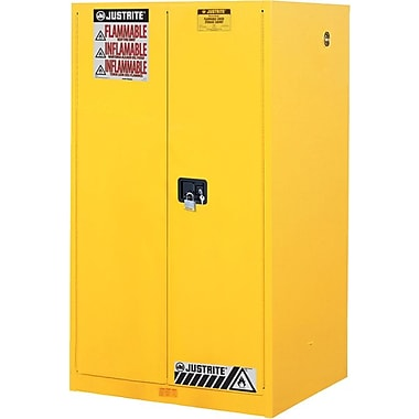 JUSTRITE® Sure-Grip® 18 Gauge Steel Yellow Safety Cabinet, 60 Gallon, Self Close