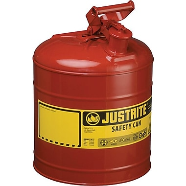 Justrite® Type I Galvanized Steel Safety Can for Flammables With Funnel, UL/ULC, Red, 5 Gallon
