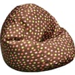 Elite Classic Medium Faux Silk Bean Bag Chair, Brown with Polka Dots