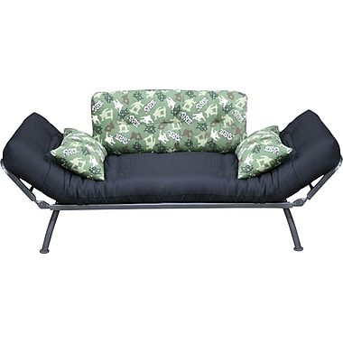 Elite Mali Flex Futon Combination Sofa/Lounger/Sleeper, Silver/Green & Black