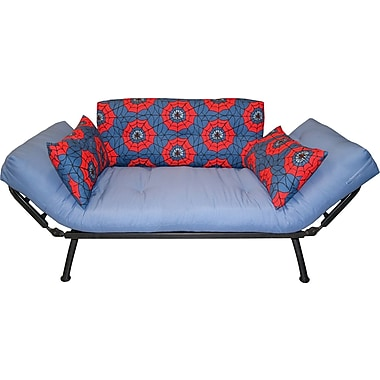 Elite Mali Flex Futon Combination Sofa/Lounger/Sleeper, Silver/Spiderweb Red & Blue
