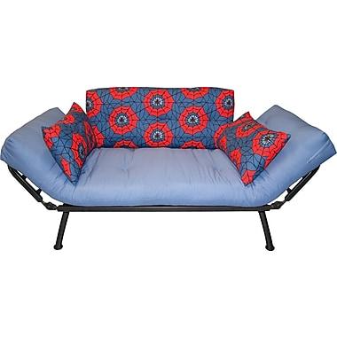 Elite Mali Flex Futon Combination Sofa/Lounger/Sleeper, Silver/Spiderweb Red & Blue