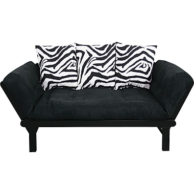 Elite Hudson Futon Combination Sofa/Lounger/Sleeper, Black/Zebra