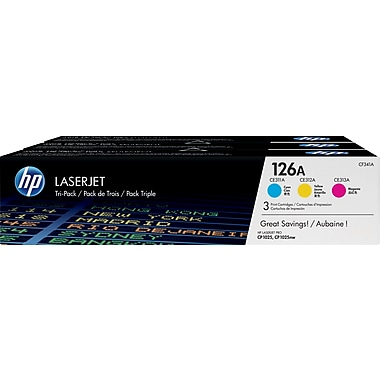 HP 126A C/M/Y Color Toner Cartridges (CF341A), Combo 3/Pack