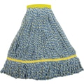 O'Dell Microfiber String Mop Head, 1 1/2in. Headband, 14 oz., Blue/Yellow