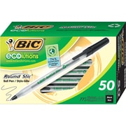 BIC® ECOlutions™ Round Stic Ballpoint Pens, Medium, Black, 50/Pack