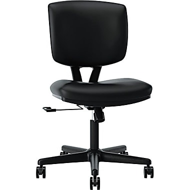 HON® Volt® H5701 Series Mid-Back Armless Leather Task Chair, Black