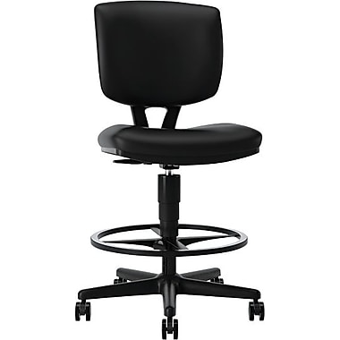 HON Volt 5705 Leather Task Stool, Black