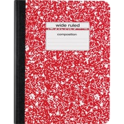 "Staples® Composition Notebook, Wide Ruled, 9-3/4"" x 7-1/2"", Red"