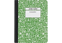 Staples® Composition Notebook, Wide Ruled, Green, 9-3/4' x 7-1/2'