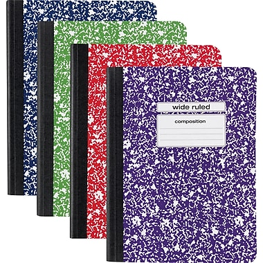Staples® Composition Book, Wide Rule, Assorted Colors, 9-3/4in. x 7-1/2in.