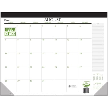 2013/2014 Upper Class® Academic Desk Pad Calendar, 21 3/4in. x 17 1/8in.
