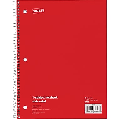 Staples® 1 Subject Notebook, Wide Ruled, 8in. x 10-1/2in., Red