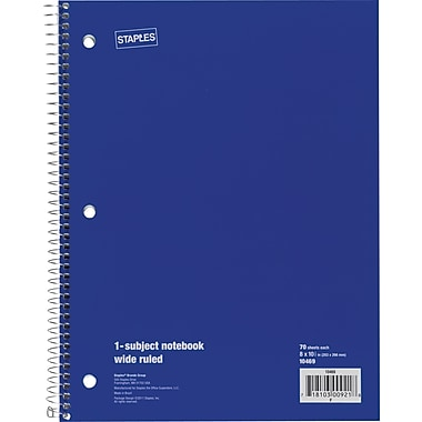 Staples® 1 Subject Notebook, Wide Ruled, 8in. x 10-1/2in., Blue
