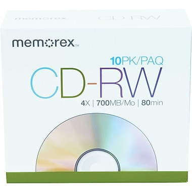 Memorex 10/Pack 700MB CD-RW, Slim Jewel Cases