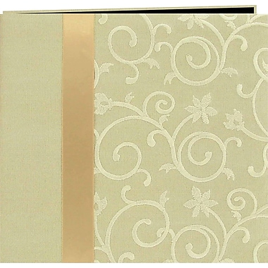 Pioneer Scroll Embroidery Fabric Postbound Album With Ribbon, Ivory, 12in. X 12in.