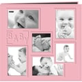 Pioneer Collage Frame Sewn Embossed Cover Postbound Album, Pink/Baby, 12in. X 12in.