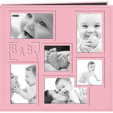 Pioneer Collage Frame Sewn Embossed Cover Postbound Album, Pink/Baby, 12