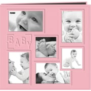 Pioneer Collage Frame Sewn Embossed Cover Postbound Album, Pink/Baby, 12 X 12