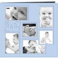 Pioneer Collage Frame Sewn Embossed Cover Postbound Album, Blue/Baby,  12in. X 12in.