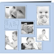 Pioneer Collage Frame Sewn Embossed Cover Postbound Album, Blue/Baby,  12 X 12