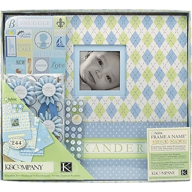K&Company Postbound Scrapbook Kit Boxed, Little House Baby Boy,  12in. X 12in.