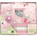 K&Company Postbound Scrapbook Kit Boxed, Little House Baby Girl,  12in. X 12in.