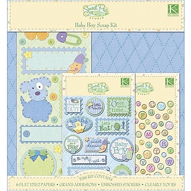 K&Company Sweet Pea Scrapbook Kit, Baby Boy,  12in. X 12in.