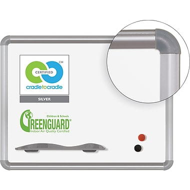 Best-Rite Green-Rite Porcelain Dry-Erase Board, Silver Presidental Trim, 1.5' x 2'