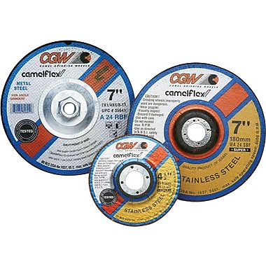 CGW® 7 in (OD) x 1/4 in (T) 27 Depressed Center Flat AO Cut-Off Wheel, 24 (Coarse), 5/8-11 Arbor, R