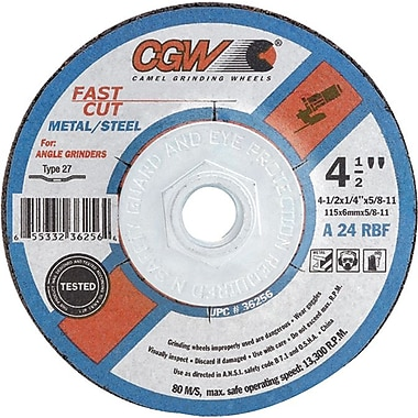 CGW® 4 in (OD) x 1/4 in (T) 27 Depressed Center Flat AO Cut-Off Wheel, 24 (Coarse), 5/8 in Arbor