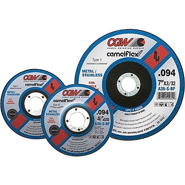 CGW® 7 in (OD) x 3/32 in (T) 27 Flat White AO Cut-Off Wheel, 36 (Medium), 5/8-11 Arbor