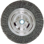 Weiler® 6 in (OD) 5/8 in (W) Face Medium Face Crimped Grinder Wheel Brush, 0.014 in Coarse, Steel