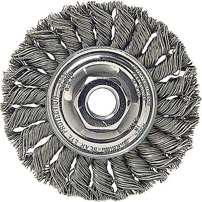 Dualife 4 in (OD) Arbor Mount Standard Twist Knot Wire Wheel Brush, 0.014 in Wire, Steel 707993