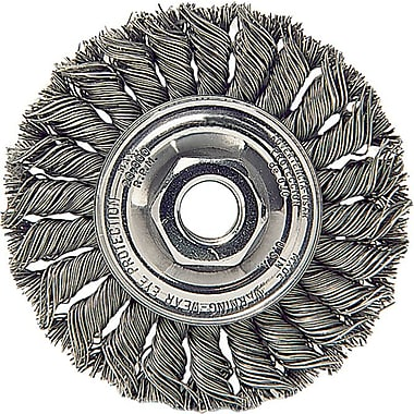 Dualife® 4 in (OD) Threaded Mount Standard Twist Knot Wire Wheel Brush, 0.014 in Wire, Steel