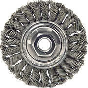 Dualife® 4 in (OD) 1/2 in (W) Face Standard Twist Knot Wire Wheel Brush, 0.014 in Wire, SS