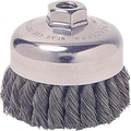 Weiler® 0.023 in (Dia) x 1 1/4 in (L) SS Wire SR-4 Knot Cup Brush, 5/8-11, 4 in (Dia)